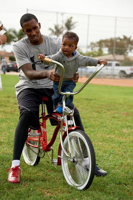 Bucks guard takes a young fan for a ride in Gardena, Calif.