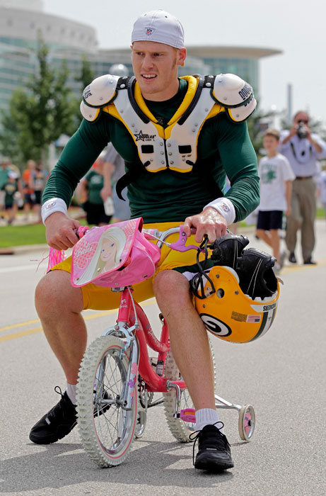Packers punter rides this manly bicycle after a Packers training camp practice in Aug. 2010.