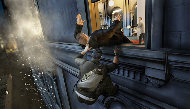 Splinter Cell Conviction  Publisher: Ubisoft  Systems: Xbox 360     Among stealth game fans, Splinter Cell's star character Sam Fisher is royalty. Splinter Cell: Conviction is the fifth entry in the franchise and an improvement over the previous iteration, Double Agent, in most ways. The game is faster and more cinematic with a surprisingly emotion-rich plot for a game of its genre. The presentation looks and feels like a Hollywood blockbuster, with fantastic environments and a surprising variety of missions, including co-op multiplayer. Purists will argue that the game is too short and that it's more about action than pure stealth, but the whole package is dynamite, both for series newcomers and, especially, those of us who have followed Sam from the beginning.  Score: 9/10