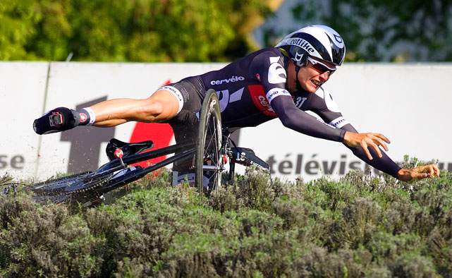 Joaquin Novoa Mendez of Spain falls in a curve during the prologue a 4.3 km time-trial at the 64th UCI protour six stages Tour de Romandie cycling race on April 27 in Porrentruy, Switzerland.