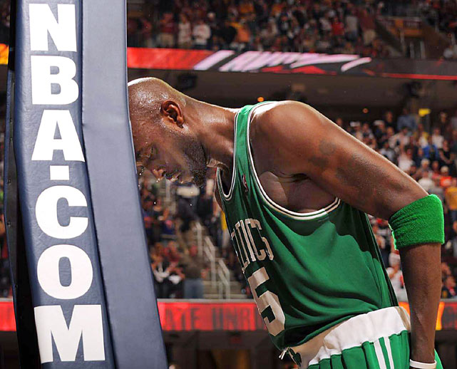 Boston Celtics' Kevin Garnett bangs his head on the basketball standard as part of his pre-game ritual before Game 1 in the second round of the NBA basketball playoff series against the Cleveland Cavaliers May 1 in Cleveland. Garnett had 18 points and 10 rebounds but the Celtics lost to the Cavaliers 101-93.
