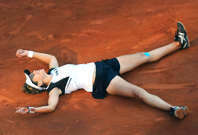 Maria Jose Martinez Sanchez celebrates her victory over Jelena Jankovic in the championship match of the WTA Rome Open on May 8.