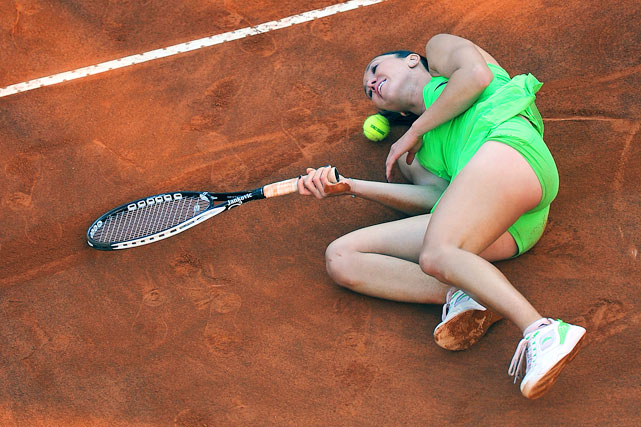 Serbia's Jelena Jankovic fell while playing against Spain's Maria Jose Martinez Sanchez during the final of the WTA Rome Open on May 8.  Martinez Sanchez defeated Jankovic 7-6, 7-5.
