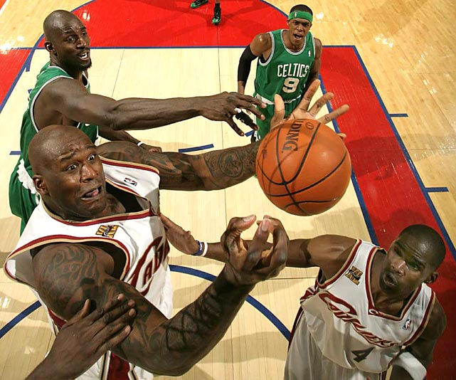 Shaquille O'Neal shoots while being guarded by Boston's Kevin Garnett during Game 2 of their Eastern Conference semifinal on May 3 in Cleveland. The Celtics won 104-86 to tie the series at one a piece.