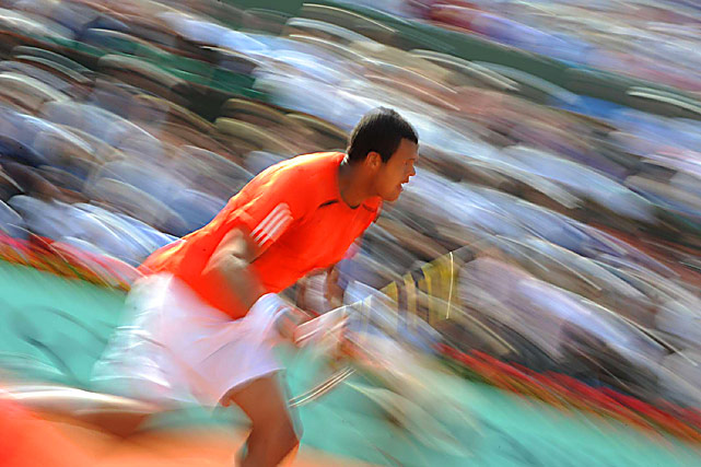 France's  Jo-Wilfried Tsonga during his 6-8, 7-4, 6-3, 6-4 victory over the Netherlands' Thiemo de Bakker at the French Open.
