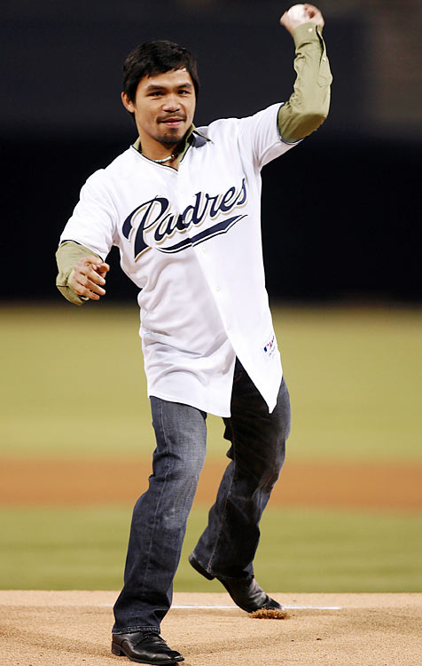 Pacquiao throws out the ceremonial first pitch before a Padres-Diamondbacks game.