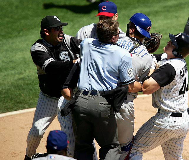 "After brawl with White Sox: Cubs starter Rich Hill called Pierzynski's play ""gutless"" and ""pathetic."" Guillen responded with several expletives and said Hill, ""is going to make (Cubs manager) Dusty Baker get fired. Shut up. He just got to the big leagues. When you make a comment that (it) was a cheap shot, you don't know the game."""