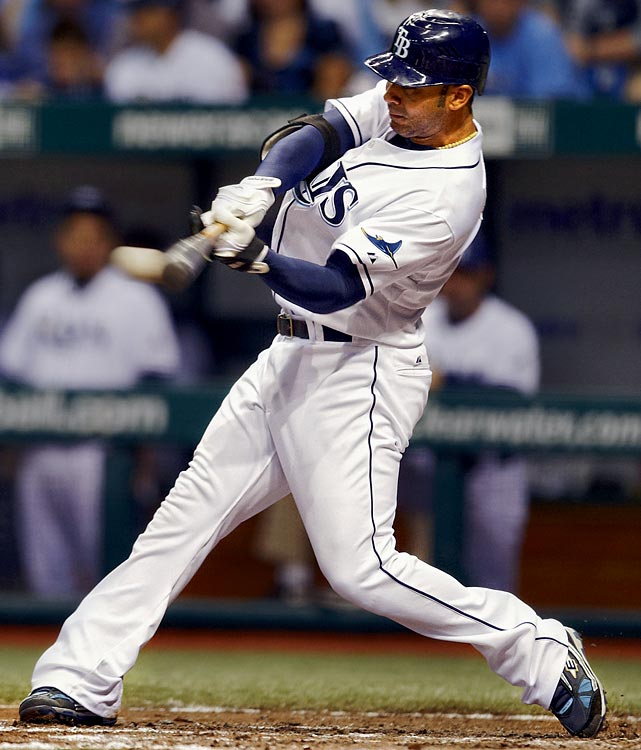 Pena has bounced around the bigs since breaking in with Texas in 2001, including stints with Detroit, Boston and Oakland. His power has always been legit, though, and he's proved since joining the Rays for the 2007 season. He hit 46 longballs that year and had 39 last season, tying him with Mark Teixeira for the most in the AL.