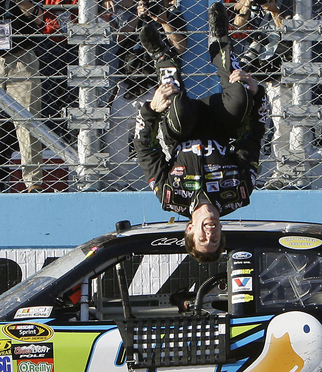 Edwards did his trademark back flip after a Sprint Cup race for the first time since the 2008 finale as he ended a 70-race winless drought at Phoenix International Speedway.
