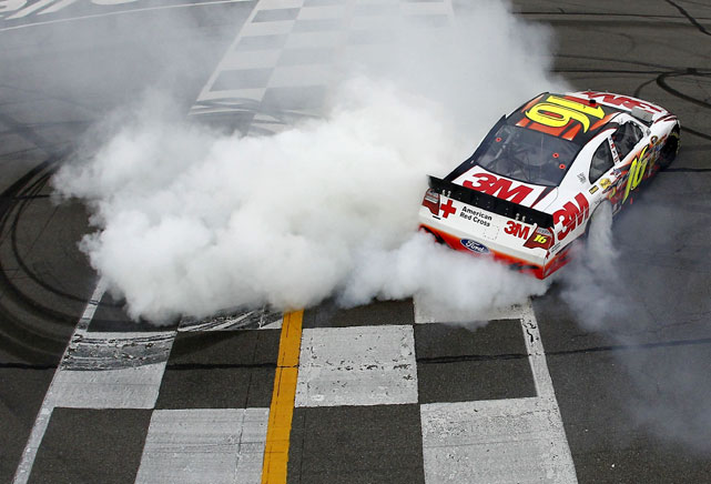 For the first time in 65 races, Greg Biffle crossed the finish line first, snapping a lengthy winless streak and giving Ford its first win of the season. It was Biffle's first win since he won back-to-back races during the 2008 Chase for the Cup championship and it couldn't have come at a better time. A week ago, Roush Fenway owner Jack Roush was injured in an airplane crash and was forced to watch the Pocono race from the Mayo Clinic. But Biffle's victory -- which he dedicated to Roush -- gave the owner his first win of the year and a reason to smile.