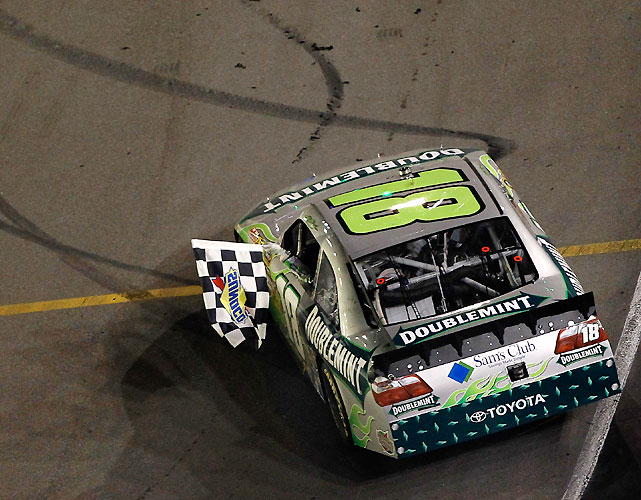 Kyle Busch became the first driver in NASCAR history to sweep all three major events in one week as he followed his Trucks and Nationwide series victories by dominating the field to win the Cup race at Bristol. It was his fourth career win at Thunder Valley in 12 starts.