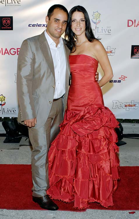 Juan Pablo Montoya and wife Connie hit the red carpet for a few photos before his charity gala.