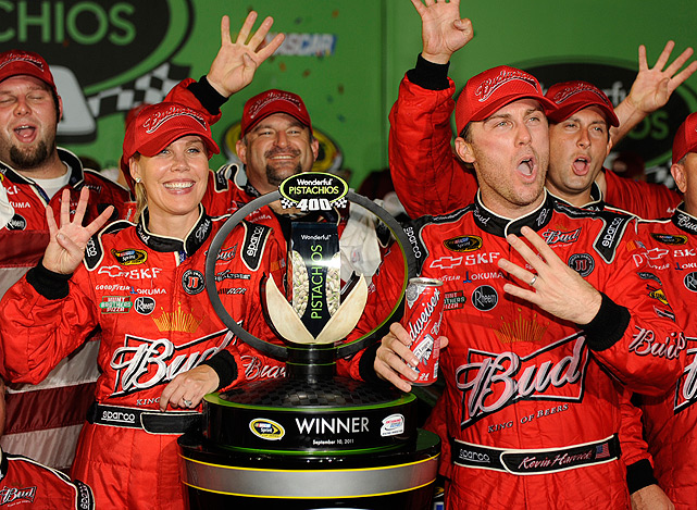 DeLana Harvick is known for supporting her husband Kevin by wearing a matching fire suit.