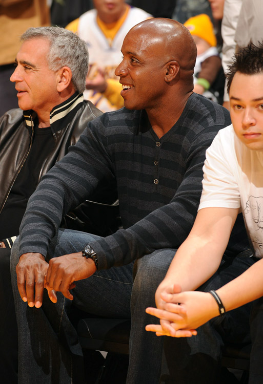 Former San Francisco Giants slugger Barry Bonds watches Pau Gasol and the Lakers blow out the Thunder in Game 5 of their first-round series.