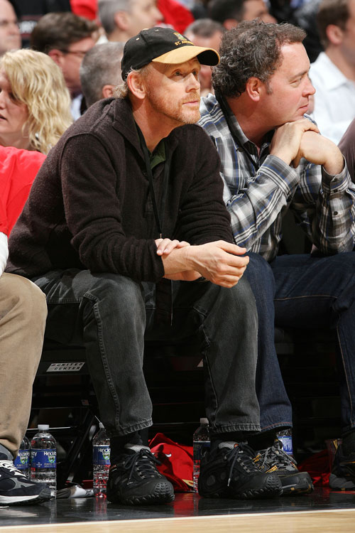 Director and actor (Richie Cunningham ... Happy Days ... good times) Ron Howard sits courtside at Game 3 of the Lakers' first-round series with the Thunder.