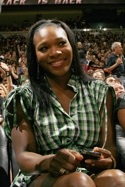 Serena Williams (sans rapper boyfriend Common), takes in a Heat-Celtics game while in Miami.