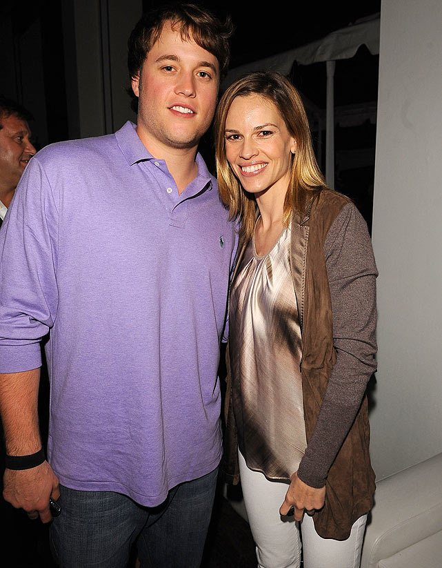 Stafford posed for a photo op with Oscar-winning actress Hilary Swank at the Super Bowl Party hosted by Creative Artists Agency at the W Hotel in Miami Beach.