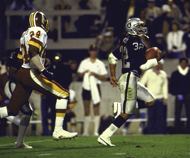 Marcus Allen's 191 yards helped the Raiders to a 38-9 win over the Redskins in Tampa, the site of four Super Bowls, including XVIII in 1984. Years hosted: 1984, 1991, 2001, 2009.
