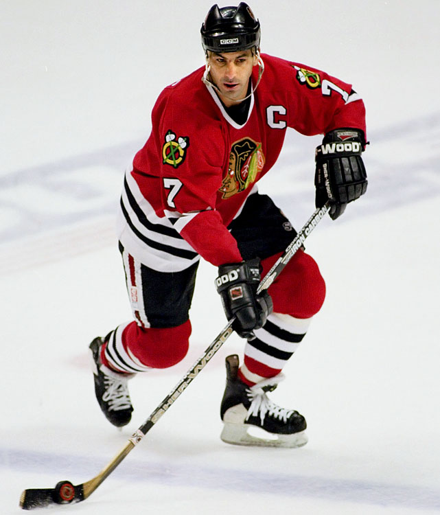 The defenseman, whose NHL tenure is approaching Gordie Howe proportions, had a sentimental tenure with the `Hawks. A Chicago native, he came home in trade from Montreal and anchored the blueline corps as the Blackhawks reached the 1992 Stanley Cup Final, where they were swept by Mario Lemieux's Penguins. Chelios captained the `Hawks from 1995 to '99, winning the Norris Trophy as the NHL's top defenseman in 1993 and 1996, before departing for Detroit in a trade. Fittingly, he returned to the Windy City in 2009 -- with the AHL Chicago Wolves -- in a bid to extend his career.