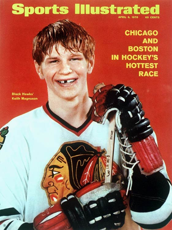 A fearless warrior, the gritty, red-haired defenseman wasn't particularly big (6 feet, 185 pounds), but he was always ready and willing to fight anyone who dropped the gloves, including greats like Bobby Orr and feared goons like Dave Schultz. Magnuson's eagerness to scrap (he even took boxing lessons) earned him a place in the record books for most penalty minutes in a career as a Blackhawk (1,442). He played 589 games for Chicago between 1969 and '79, helping the `Hawks reach the Stanley Cup Final in 1971 and '73, before retiring as a result of knee injuries. He later served as assistant and head coach for the club.