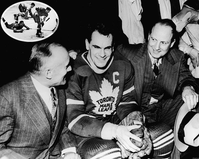 Coached by Jack Adams (for whom the NHL's award is named), the Wings were first team to surrender a three-games-none lead in a postseason series and lose. The turning point came in Game 4 of the Stanley Cup Final when, with Detroit's champagne on ice, Leafs coach Hap Day benched four starters in favor of a group of kids. Fourth-liner Don Metz was the unlikely hero, scoring a hat-trick in Toronto's 4-3 win. The Leafs won the next two and polished off the Wings at home in Game 7 by rallying from an early 1-0 hole to win, 3-1.