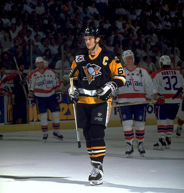 Washington finished the regular season with 98 points; the defending Cup-champion Penguins with 87, so it looked like a changing of the guard was at hand when the Caps put the Pens on the brink with a 7-2 win in Game 4 of their first round series. But Mario Lemieux, the eventual Conn Smythe Trophy-winner, and his mates rose up, outscoring the Capitals 14-7 in the next three games, eliminating them with a 3-1 win in Washington.