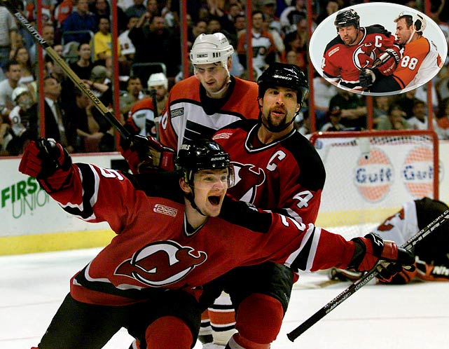 The East's top seed, with hot rookie Brian Boucher in net, was cruising in the conference final vs. the fourth-seed Devils when it made the mistake of coming out flat for Game 5 in Philadelphia and losing 4-1. After that, the Flyers had a devil of a time getting anything past Martin Brodeur, who allowed only two more goals the rest of the was as New Jersey rallied late for a 2-1 win in Game 6, then eliminated Philly by the same score in a Game 7 made memorable by Scott Stevens booming hit on Eric Lindros. The Flyers were the first team to surrender a 3-1 lead in a conference final and lose.