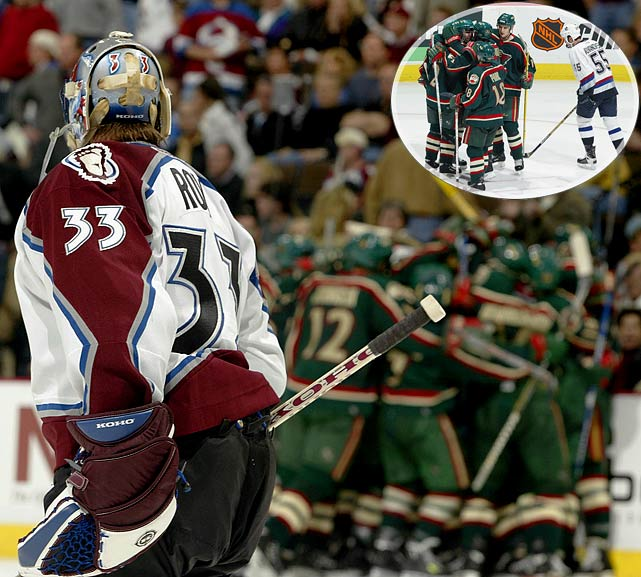 Patrick Roy and the third-seed Avs were in control of their first-round series when they lost to the six-seed Wild, 3-2, at home in Game 5. In Game 6, Minny's Richard Park scored the winner in OT to force Game 7. The Avs lasted until 3:25 of OT when they were done in by Andrew Brunette. In the next round, the Wild victimized four-seed Vancouver with a 7-2 win in Game 5 followed by a panic-inducing 5-1 win in Game 6. Up 2-0 midway through the second period of Game 7, the Canucks unraveled, making the Wild the first team to pull off two 3-1 rallies in one playoff season.