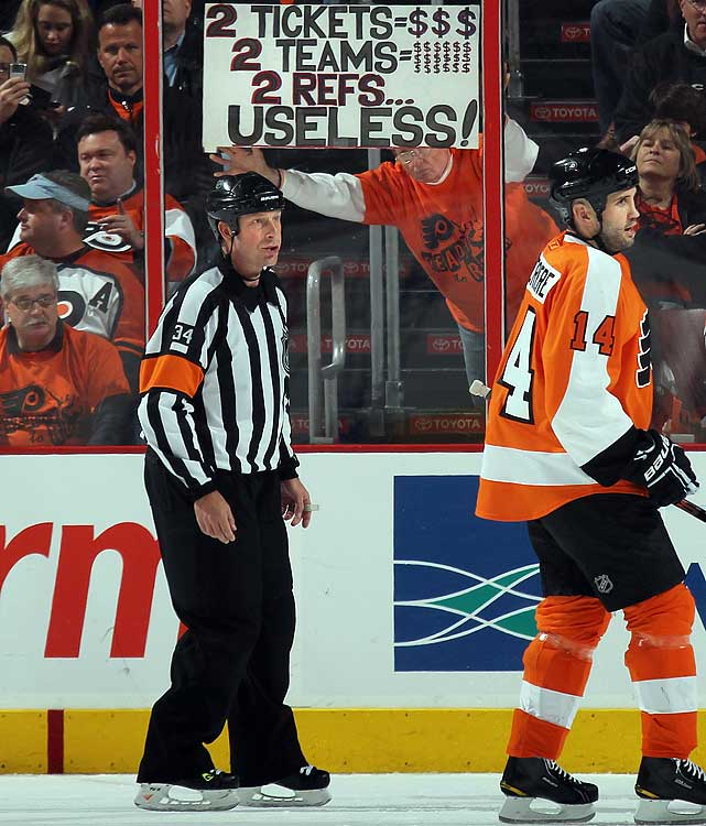 Naturally, on-ice officials have not been exempt from fan wrath or criticism.