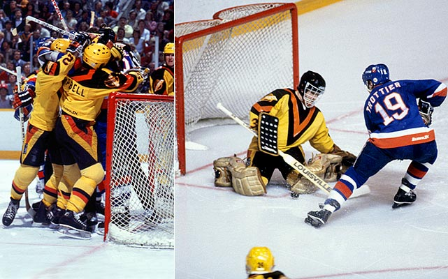 Their record (30-33-17; 77 points) was as ugly as their uniforms, but Stan Smyl, Tiger Willams, goalie Richard Brodeur and the rest of the Canucks managed to survive three rounds, thanks in part to a new playoff format that had four teams from each division playing a best-of-five semifinal before a best-of-seven division final. The Canucks ended up playing and beating tomato cans, first Calgary (75 points) and then Los Angeles (63), which had pulled off a huge and very convenient upset of Wayne Gretzky's high-powered Oilers. In the conference final, the Canucks qualifed as cannon fodder for the two-time defending champion Islanders by beating weak sister Chicago (72 points).