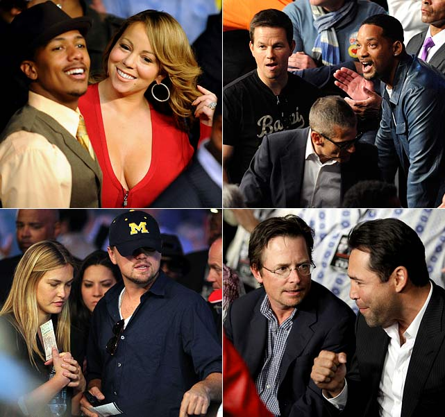 Floyd Mayweather and Shane Mosely really know how to attract an A-list crowd. Boxing alums in the audience at Saturday night's fight included Muhammad Ali, Mike Tyson and Oscar De La Hoya. The main event also attracted Leonardo DiCaprio, Bar Refaeli, Paris Hilton, Nick Cannon, Mariah Carey, Eva Longoria-Parker, Mark Wahlberg, Will Smith, Michael J. Fox, Magic Johnson and Jamie Foxx.