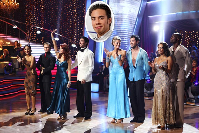 "Last week, Chad Ochocinco was voted off ""Dancing with the Stars"" leaving Nicole Scherzinger, Erin Andrews and Evan Lysacek (4th from left) to duke it out for the mirrored globe trophy.  It truly is anyone's game as each contestant has his or her own strengths and weaknesses.  A strength of Lysacek's?  He has Olympian and former DWTS champion Apolo Ohno (inset) on his side.  Ohno told People.com, ""I heard the odds are a little bit against him, but if we could gamble on it I'd put money on him here in Vegas. I'd try to sway the vote and just Twitter like crazy."""