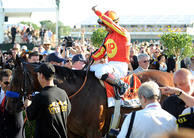 Jockey Martin Garcia wins the 135th running of the Preakness Stakes.