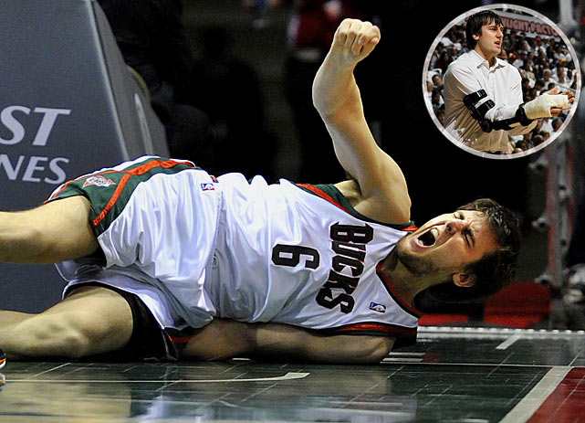 The leading candidate for gruesome injury of the year comes from Milwaukee center Andrew Bogut, who shattered his arm after falling awkwardly after a dunk. The Aussie suffered a broken hand, dislocated elbow and a sprained wrist all in a matter of seconds.