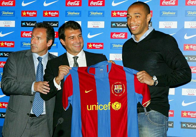 After eight seasons at Arsenal, Henry joined FC Barcelona in 2007.