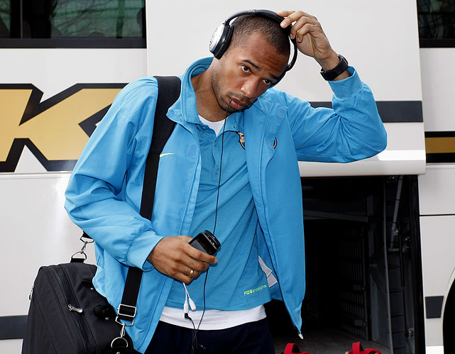 Henry arrives at the hotel in Essen, Germany, prior to the Champions League quarterfinal match between FC Schalke and FC Barcelona.
