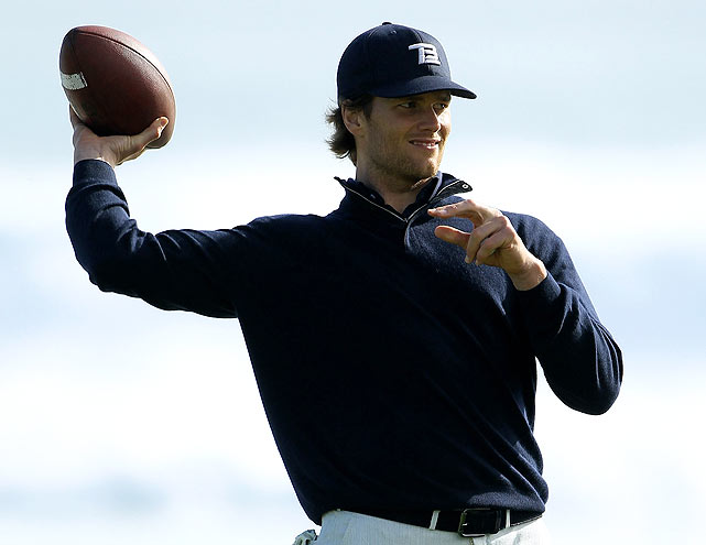 Even on the golf course, football was not too far from Brady's mind.