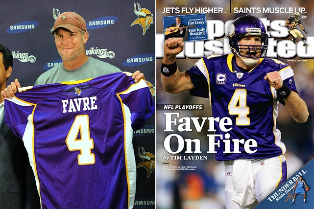 After a strange season in New York with the Jets, Favre did the retirement dance for the second time in as many offseasons. Favre decided to come back to the NFL and signed a  two-year, $25 million contract with the Minnesota Vikings. Favre experienced a renaissance in 2009 throwing for 4,404 yards, 33 touchdowns and only seven interceptions. At the age of 40 he posted a career best 107.2 QB rating.