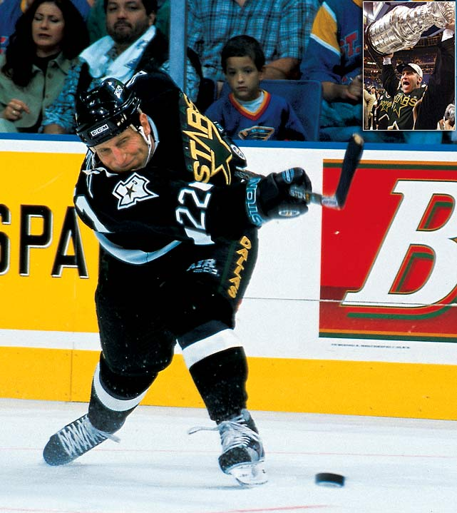 Hull spent parts of 11 seasons in St. Louis before packing his bags for Dallas. The Stars gave Hull a three-year, $17.5 million deal, including a no-trade clause that was a sticking point in his negotiations with the Blues. Hull's most memorable moment with the Stars was his controversial, 1999 Stanley Cup-winning triple overtime goal in Game 6 against the Buffalo Sabres.