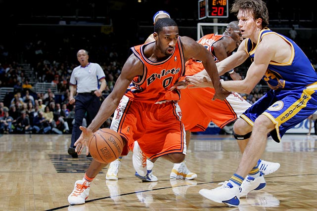 After being selected with the 31st overall pick in 2001 by the Warriors, Arenas spent his first two years quickly establishing himself as a budding talent in the league. He earned the NBA's Most Improved Player Award and was named the MVP of the Rookie-Sophomore game during All-Star weekend in 2003. After that season, he was one of the most sought-after free agents on the market, and turned down the Warriors and Clippers to sign a six-year, $65 million contract as a restricted free agent with the Wizards.