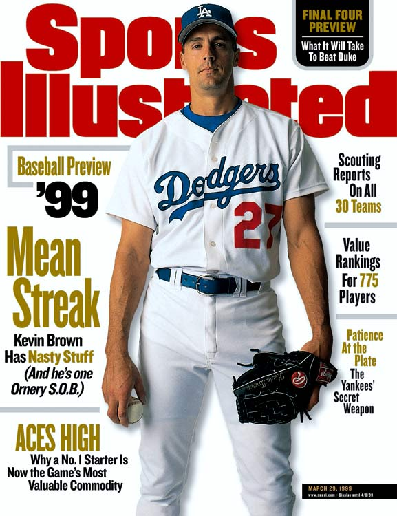 Coming off three seasons of under-3.00 ERA pitching, Brown entered free agency as the most sought after player on the market. Rupert Murdoch, who owned the Dodgers at the time, won the bidding war by signing Brown to a seven-year, $105 million contract, making Brown the first $100 million player. He had a 2.82 ERA in parts of five seasons with the Dodgers but was hampered by injuries throughout his time in Los Angeles.