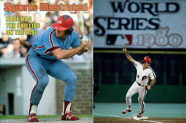 Fresh off becoming the youngest player to reach 3,000 career hits, Rose was lured to the Phillies with a then-record $3.2 million, four-year deal in hopes of leading them to their first World Series title. Rose delivered with the Phillies, hitting .331 in his first season before helping the team that elusive World Series in 1980. Rose hit .291 in five seasons in Philadelphia.