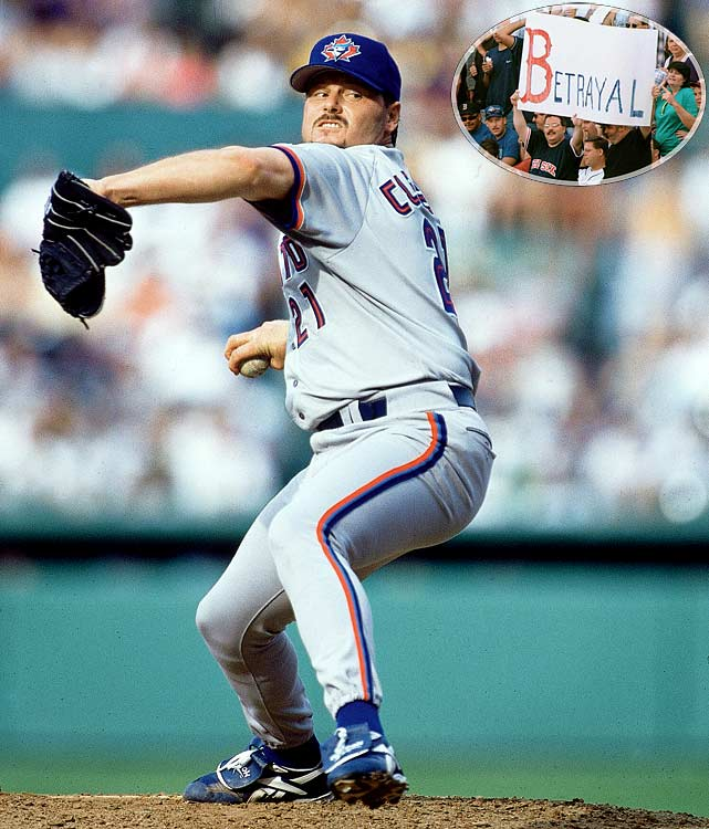 "Saying that Clemens was entering the ""twilight"" of his career, Red Sox general manager Dan Duquette chose not to try and re-sign Clemens in the 1996 offseason. Clemens signed a four-year, $40 million contract with the Blue Jays and proved Duquette wrong all season long. He led the AL in wins (21), strikeouts (292) and ERA (2.05) in the 1997 season, winning the AL pitcher's Triple Crown for the first time since 1945, and the first of four more Cy Young awards before his career finally ended in 2007."
