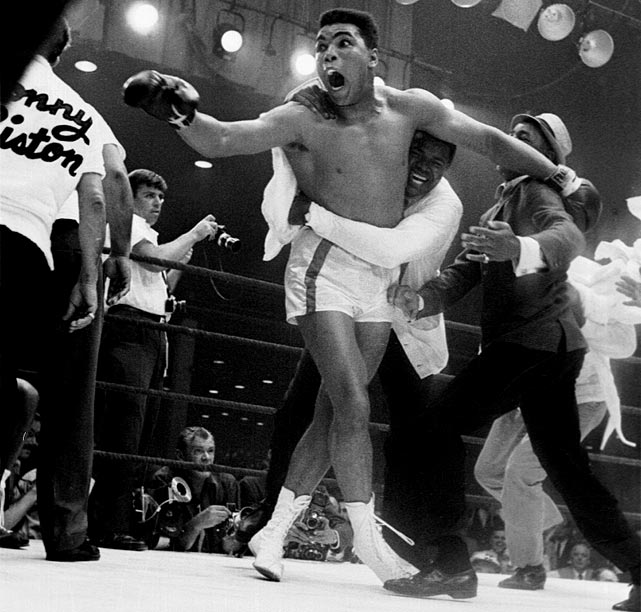 "Shortly after celebrating his upset win over Liston, the new ""King of the World"" announced that he had become a Muslim and was changing his name from Cassius Clay to Muhammad Ali."
