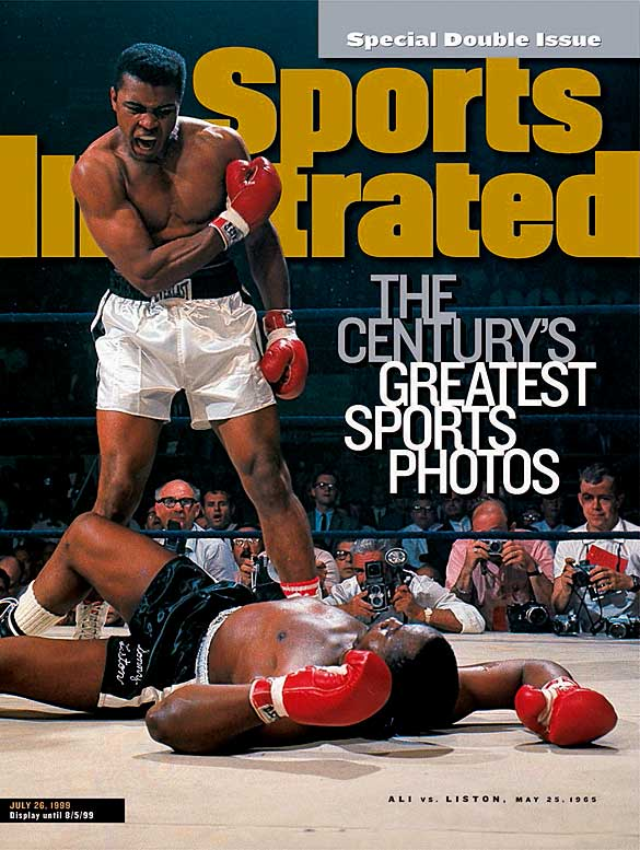 In his rematch with Liston in 1965, Ali made quick work of the challenger, dropping him with a short right one minute into the first round.