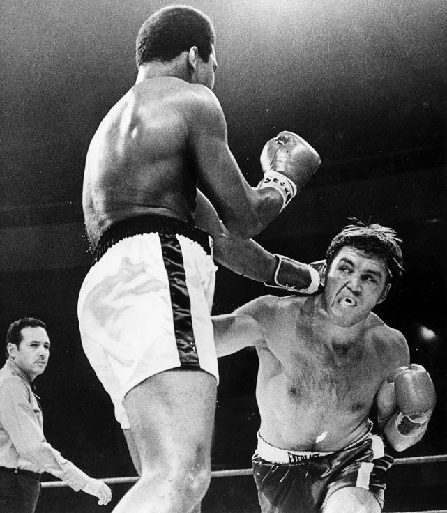 Three years after being found guilty of draft evasion and being stripped of his title and license to box, Ali took advantage of a loophole in Georgia (the state had no boxing commission) and defeated Jerry Quarry in three rounds of a 1970 bout.