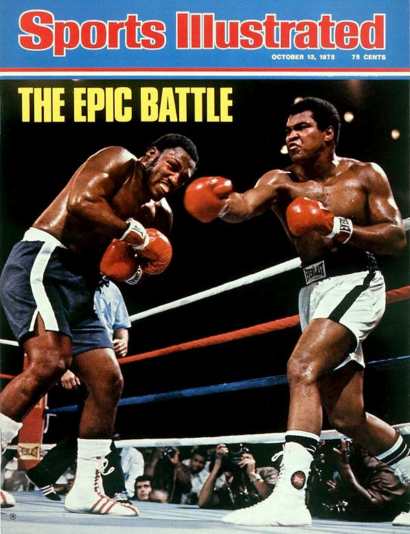 "In one of the famous fights in history, Ali pounded Joe Frazier in the ""Thrilla in Manilla"" and won by TKO when Smokin' Joe couldn't continue after the 14th round."