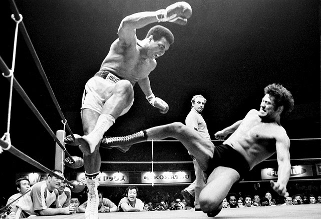 "One of the few low points in Ali's career was his exhibition fight with Japanese wrestler Antonio Inoki in Tokyo in June 1976. Ali spent most of the 15 rounds taunting and sticking his tongue out at his opponent, while Inoki landed kick after kick at Ali's legs. The bout was declared a draw.  Ali reportedly pocketed $2 million for the so-called ""Martial Arts Championship."""