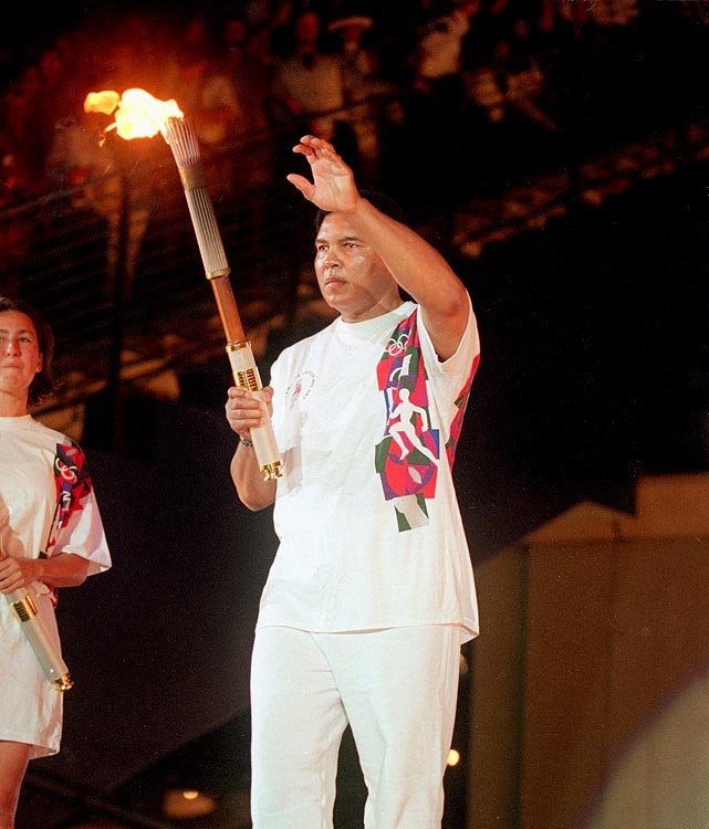 "Perhaps Ali's most famous moment since his retirement was when he lit the Olympic flame at the 1996 Summer Games in Atlanta. He was later presented with an honorary gold medal as a ""replacement"" for the one he supposedly threw into the Ohio River in 1960 after being refused entry into a restaurant based on his race."