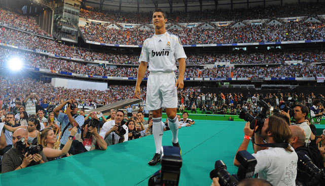Ronaldo is presented to a full house at the Santiago Bernabeu Stadium after joining New Real Madrid.